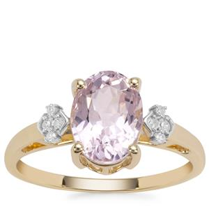 Mawi Kunzite Ring with White Diamond in 9K Gold 2.62cts