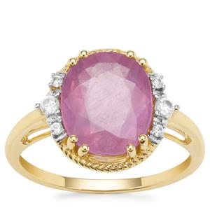 Ilakaka Hot Pink Sapphire Ring with White Zircon in 9K Gold 4.97cts