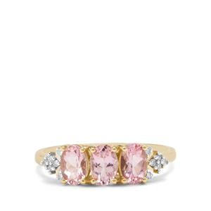 Cherry Blossom™ Morganite & Diamond 9K Gold Ring ATGW 1.26cts