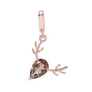 Smokey Quartz Reindeer Kama Charm in Rose Gold Plated Sterling Silver 1.19cts