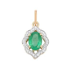 Zambian Emerald & Diamond 18K Gold Tomas Rae Pendant MTGW 1.68cts