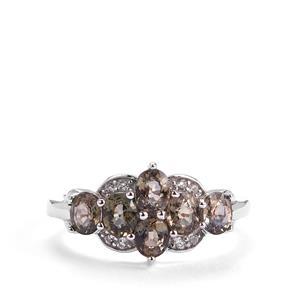 Tunduru Colour Change Sapphire & White Topaz Sterling Silver Ring ATGW 2.07cts