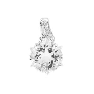 Wobito Snowflake Cut Itinga Petalite Pendant with Diamond in 9K White Gold 3.80cts