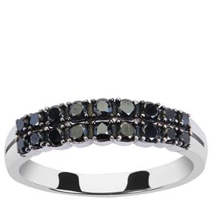 1/2ct Black Diamond Sterling Silver Ring