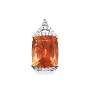 Oregon Sunstone Pendant with Diamond in 18K Gold 4.82cts