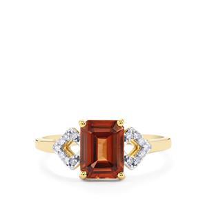 Zanzibar Sunburst Zircon Ring with Diamond in 10k Gold 2.73cts