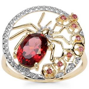 Savanna Pink Garnet Spider Ring with Rajasthan Garnet in 9K Gold 1.68cts