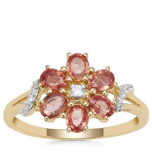 Tanzanian Sunset Sapphire Ring with White Zircon in 9K Gold 1.48cts
