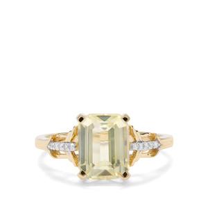 Minas Novas Hiddenite & Diamond 9K Gold Ring ATGW 3.40cts