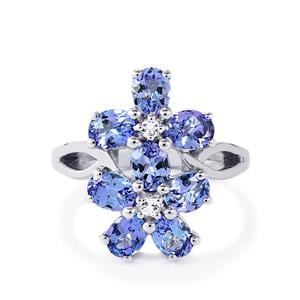 AA Tanzanite & White Topaz Sterling Silver Ring ATGW 2.85cts