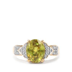 Ambilobe Sphene Ring with Diamond in 18K Gold 3.46cts