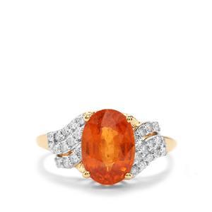 Mandarin Garnet Ring with Diamond in 18K Gold 3.89cts