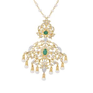 Sakota Emerald, Kaori Cultured Pearl Necklace with Diamond in Gold Plated Sterling Silver