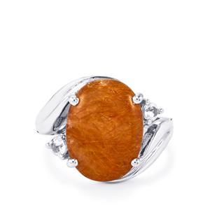 Bahia Rutilite & White Topaz Sterling Silver Ring ATGW 8.85cts