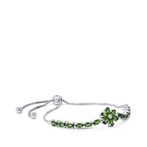 Chrome Diopside Slider Bracelet with White Zircon in Sterling Silver 3.52cts