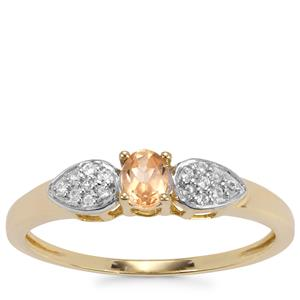 Ceylon Imperial Garnet Ring with White Zircon in 10K Gold 0.39cts