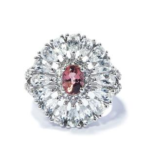 Pink Tourmaline Ring with White Topaz in Sterling Silver 5.71cts