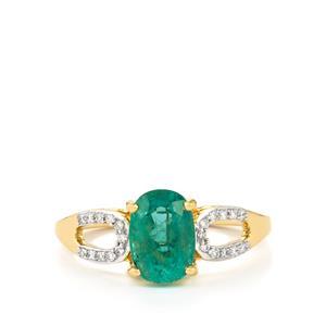 Zambian Emerald & Diamond 18k Gold Tomas Rae Ring MTGW 1.81cts
