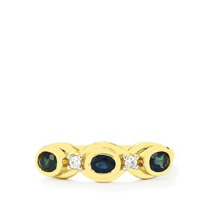 Nigerian Blue Sapphire Ring with White Zircon in 10K Gold 0.83cts