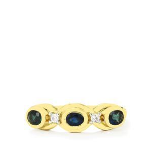 Nigerian Blue Sapphire & White Zircon 10K Gold Ring ATGW 0.83cts