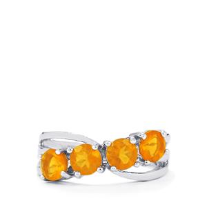 1.32ct AA Honey American Fire Opal Sterling Silver Ring
