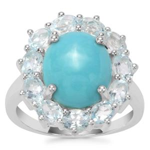 Sleeping Beauty Turquoise Ring with Sky Blue Topaz in Sterling Silver 6.02cts