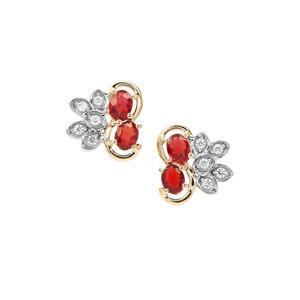 Songea Ruby Earrings with White Zircon in 9K Gold 1.05cts
