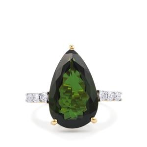 Green Tourmaline Ring with Diamond in 18K Gold 8.11cts