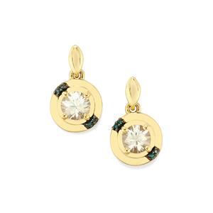 Singida Tanzanian Zircon & Blue Diamond 9K Gold Earrings ATGW 2.08cts