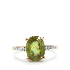 Ambilobe Sphene Ring with Diamond in 18k Gold 4.20cts