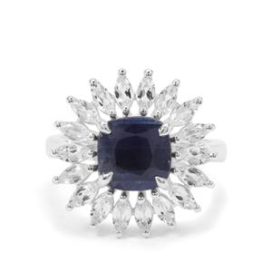 Bharat Sapphire & White Topaz Sterling Silver Ring ATGW 4.45cts
