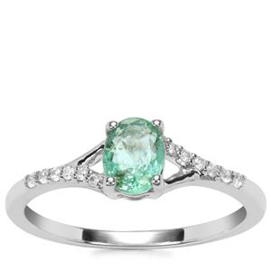 Zambian Emerald Ring with White Zircon in 9K White Gold 0.63ct