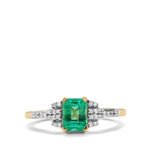 Ethiopian Emerald Ring with Diamond in 18K Gold 1.07cts