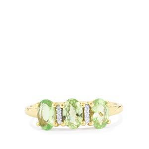 Merelani Mint Garnet & Diamond 9K Gold Ring ATGW 1.37cts