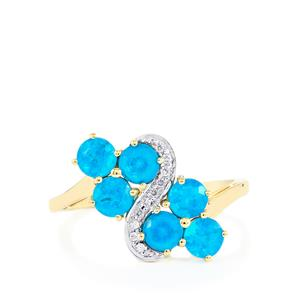 Neon Apatite Ring with White Zircon in 10k Gold 1.66cts