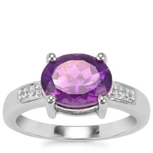 Zambian Amethyst Ring with White Topaz in Sterling Silver 2.90cts