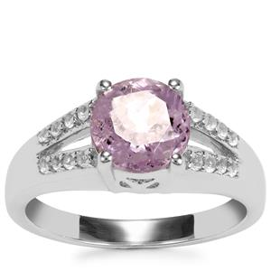 Minas Gerais Kunzite Ring with White Topaz in Sterling Silver 2.46cts