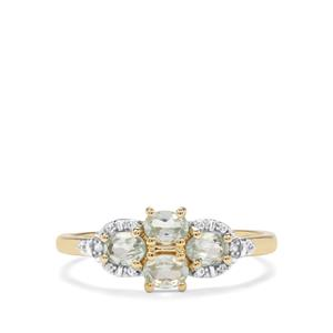 Alexandrite & White Zircon 9K Gold Ring ATGW 0.74cts
