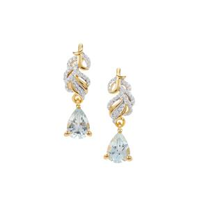 Pedra Azul Aquamarine Earrings in Gold Plated Sterling Silver 1.16cts