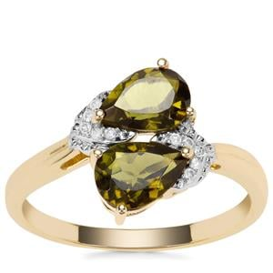 Chrome Tourmaline Ring with Diamond in 9K Gold 1.17cts