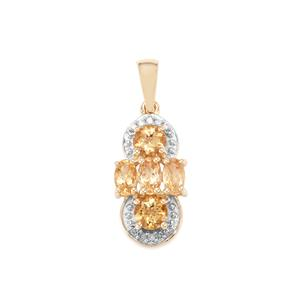 Ouro Preto Imperial Topaz Pendant with Diamond in 9K Gold 1.65cts