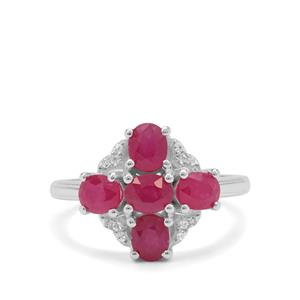 Kenyan Ruby Ring with White Zircon in Sterling Silver 2.55cts