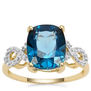 London Blue Topaz Ring with White Zircon in 9K Gold 6.86cts