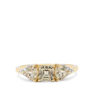 Asscher Cut Csarite® & Diamond 9K Gold Ring ATGW 1.81cts