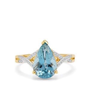 Nigerian Aquamarine Ring with Diamond in 18K Gold 2.65cts
