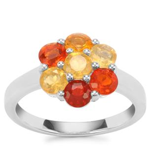 Mexican Fire Opal Ring in Sterling Silver 1.21cts