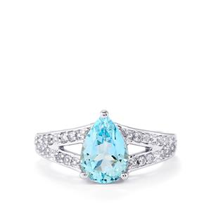 2.55ct Swiss Blue & White Topaz Sterling Silver Ring