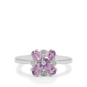 Rose du Maroc Amethyst Ring with White Zircon in Sterling Silver 0.90ct
