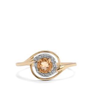 Ceylon Imperial Garnet & White Zircon 10K Gold Ring ATGW 0.37cts