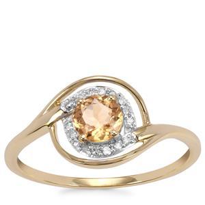 Ceylon Imperial Garnet Ring with White Zircon in 10K Gold 0.37cts